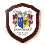 Double Barrelled Family Crests Coat of Arms Shield Plaque PERSONALISED, ref FCMDB